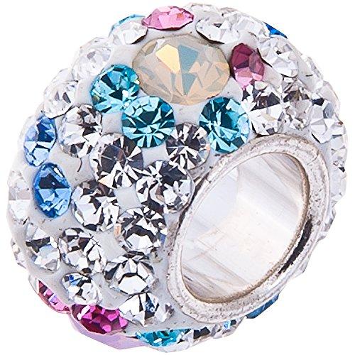 Opal and Swarovski Crystal Charm 10 x 8mm- 925