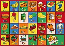 ABC Fruits Alphabet Kids Educational 3x5 Area Rug Mat Actual Size 3\'3 x 4\'9