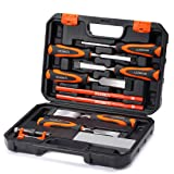 REXBETI 10pc Premium Wood Chisel Set, 6pcs Wood Chisel with 1 Honing Guide, 1 Sharpening stone and 2 Carpenter pencils, Heat-Treated Cr-V Alloy Blades, Perfect Woodworking Tool
