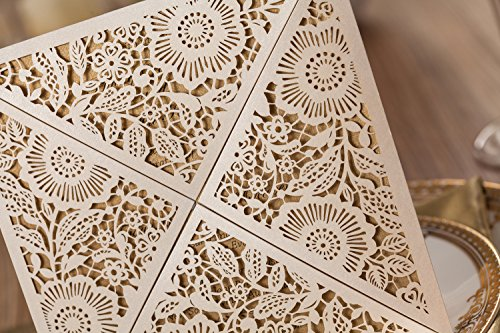 Wishmade 100x White Square Laser Cut Wedding Invitations Cards with Lace Flowers Engagement Birthday Bridal Shower Baby Shower Graduation Party Favors CW520WH 5