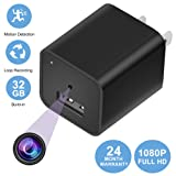 Hidden Camera Mini Charger Camera Smartcam 1080P 32Gb internal memory With Loop Recording Motion Detection Black 2018 Version