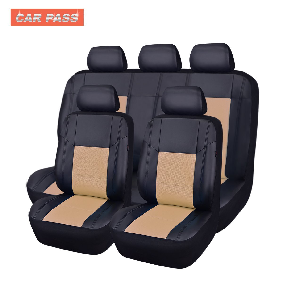universal black red pu leather car seat covers set fit airbag breathable 40 60 ebay. Black Bedroom Furniture Sets. Home Design Ideas