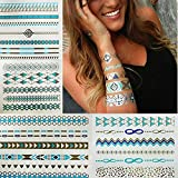 8 Styles & 8 Sheets Pack, Metallic Removable Waterproof Temporary Flash Tattoo Pattern & Golden Bling Glitter Tattoo Stickers Body Art Sex Products For Girls And Boys And Womans.