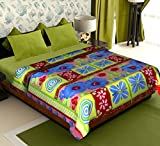 Story@Home Coral Collection Soft Printed Fleece Double Bed Blanket, Beige