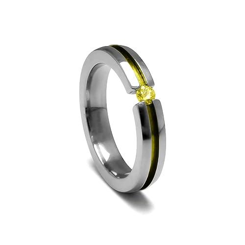 Women's Grey Titanium Round-Cut Yellow Sapphire Ring