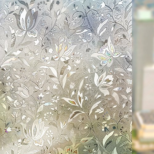 Rabbitgoo 3D Window Films Privacy Film Static Decorative Film Self Adhesive Heat Control Anti UV 17.7In. By 78.7In. (45 x 200Cm) (Windows Film Privacy compare prices)