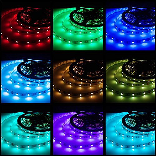 Led Strips Lighting Rxment® 5M 16.4 Ft 5050 RGB 150LEDs Flexible Color Changing Full Kit with 44 Keys Remote Controller + Control Box + 12V 2A Power Supply for Home & Kitchen Decorative