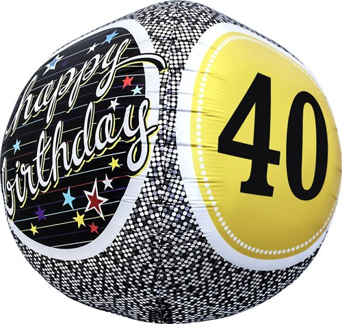 40th Birthday Sphere Helium Foil Balloon - 17 inch