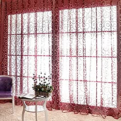 Floral Window Screening Curtains Door Balcony Panel Sheer Scarfs Valances(1pc) (Red)
