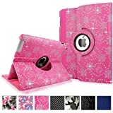 Cellularvilla Apple Ipad2 Ipad3 Ipad4 Gen Genration Pink Glitter 360 Degree Rotating Flip Folio Case Cover with Auto Sleep/wake Feature Stand