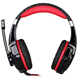 Poplar KOTION EACH G9000 3.5mm Game Gaming Headphone Headset Earphone Headband with Microphone LED Light for PS4 Laptop Tablet Mobile Phones, Black+Red (Color: Black+Red)