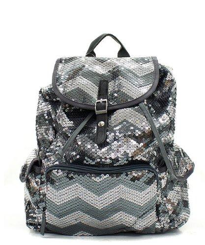 Chevron Sequin Backpack Gray