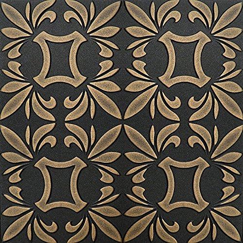 pintado-a-mano-espuma-de-poliestireno-de-techo-tiles-retro-112-negro-oro-500-x-500-mm