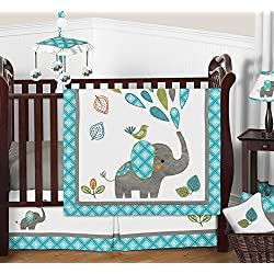 Turquoise Blue Gray and White Mod Elephant Girl or Boy Baby Bedding 11 Piece Crib Set Without Bumper