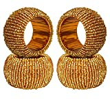 ITOS365 Handmade Beaded Napkin Rings Holder for Dinning Table Parties Everyday Golden, Set of 4