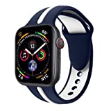 EloBeth iWatch Band 44mm 42mm, Soft Silicone Sport Replacement Wrist Strap Stripe Color Splicing Compatible Apple Watch Series 4/3/2/1 Nike+ Sport Edition Smart IWatch (Stripe-Blue/White, 44/42mm) (Color: Stripe-Blue/White, Tamaño: 42 mm)