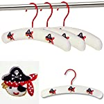 PACK OF 3 PREMIUM QUALITY COTTON PADDED CHILDREN'S COAT HANGERS FOR BABY & TODDLER CLOTHES - Embroidered Pirate Design - 30cm