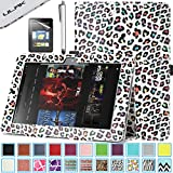 Kindle Fire HD 8.9 Case - ULAK Slim Fit PU Leather Standing Protective Cover with Auto Sleep/Wake Feature for Amazon Kindle Fire HD 8.9 Inch 2012 Gen with Screen Protector, Colorful Leopard Skin