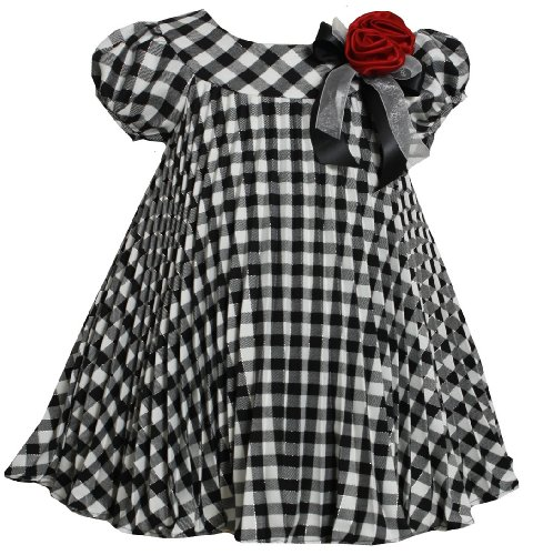 Bonnie Jean Girls Plaid Pleated Float Fall Holiday Dress, Black / White, 2T front-1076925