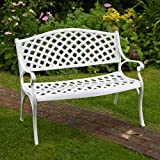Lazy Susan Furniture - Jasmine Metal Garden Bench White