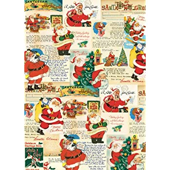 Cavallini & Co. Santa Decorative Decoupage Poster Wrapping Paper Sheet
