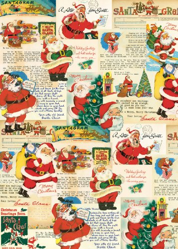 Cavallini & Co. Santa Decorative Decoupage Poster Wrapping Paper Sheet 0