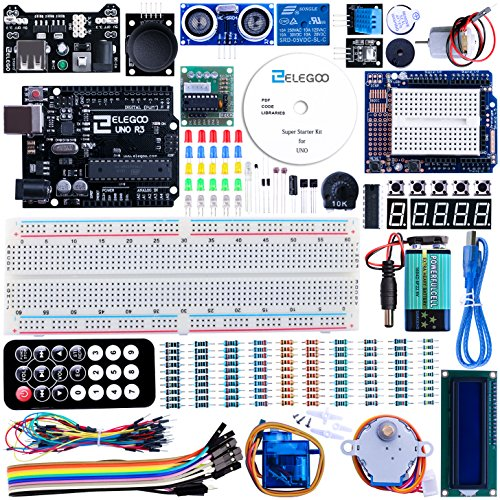 Elegoo-UNO-Project-Super-Starter-Kit-with-Tutorial-5V-Relay-UNO-R3-Power-Supply-Module-Servo-Motor-9V-Battery-with-DC-Prototype-Expansion-Board-ect-for-Arduino