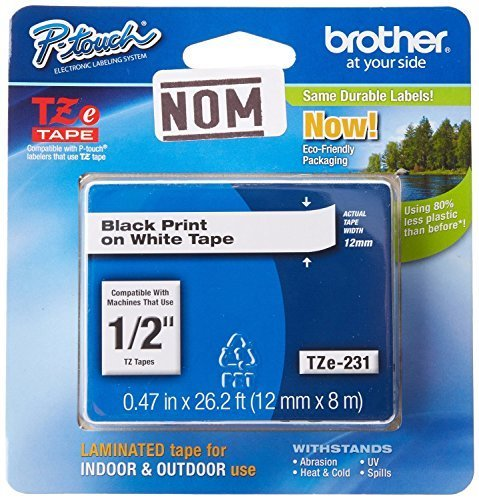 Brother Laminated Black on White Tape (TZe231) (2 Pack) by Brother (Brother Tze231 Tape compare prices)