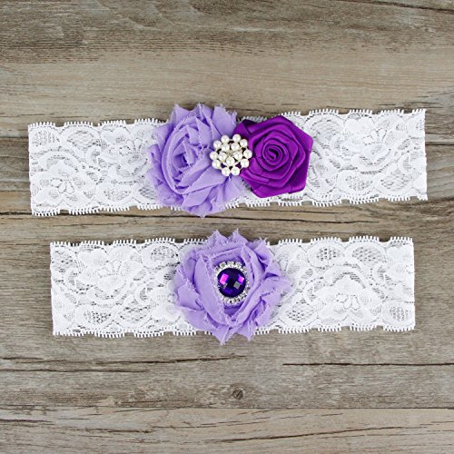 Rimobul Rose Wedding Bridal Garters with Toss Away - Set of 2 (Purple)