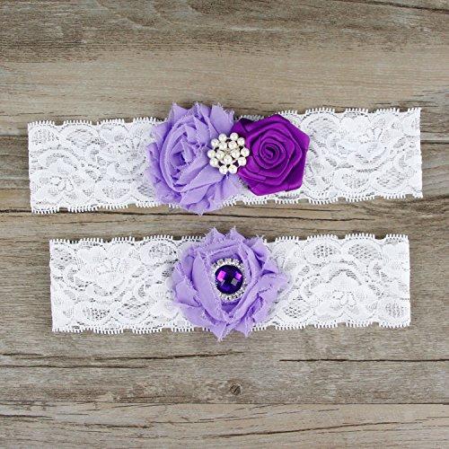 Rimobul Rose Wedding Bridal Garters with Toss Away - Set of 2 (Purple)