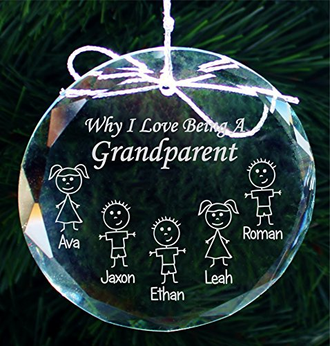 Grandparents Christmas Gift Ornament, Grandma Gifts, Grandpa Gifts, Handmade Crystal Holiday Ornaments - COR004