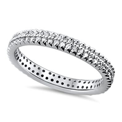 0.60ct Double Row Round Diamonds Full Eternity Wedding Ring in White Gold