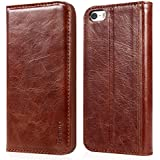 iPhone 5 & 5s Case, Benuo [Vintage Book Series] - Handmade 100% Genuine Leather Case with Stand & 1 Card Slot (Brown, Basic Cover)