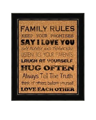 Family Rules Corkboard, Black