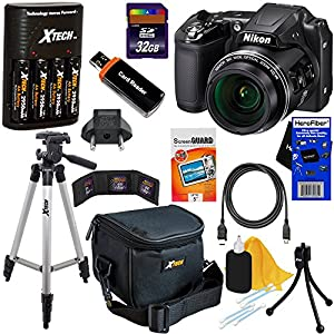 Nikon COOLPIX L840 16 MP CMOS Wi-Fi Digital Camera with 38x Zoom & HD Video, Black - International Version (No Warranty) + 4 AA Batteries with Quick Charger + 10pc 32GB Deluxe Accessory Kit w/ HeroFiber Gentle Cleaning Cloth