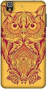 The Racoon Lean Orange Illustrated Owl hard plastic printed back case / cover for Yu Yureka
