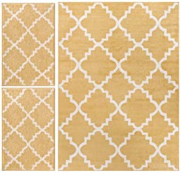 Nellis Trellis Yellow Gold Moroccan Lattice Geometric Oriental Yellow Gold Ivory 3-piece Living Dining Room Entryway Bathroom Kitchen Ultra Value Area Rug Set 5x7 and Bonus 2x3 Mats
