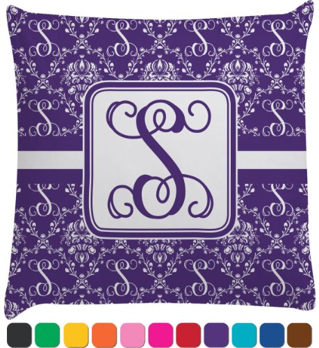Personalized Initial Damask Decorative Pillow Case (Personalized)