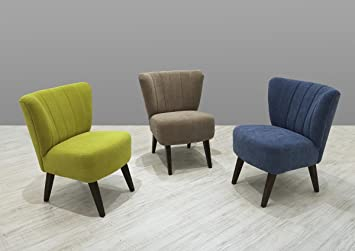 Dreams4Home Sessel Locri Loungemöbel Loungesessel Clubsessel Cocktailsessel braun, grau, blau oder grun, Farbe:Grun
