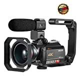 4K Camcorder, Video Camera ORDRO AC5 with 12x Optical Zoom 3.1'' IPS Touch Screen Ultra HD 1080P 60FPS Digital WiFi Camera Camcorders with Microphone Wide Angle Lens (Color: Black)