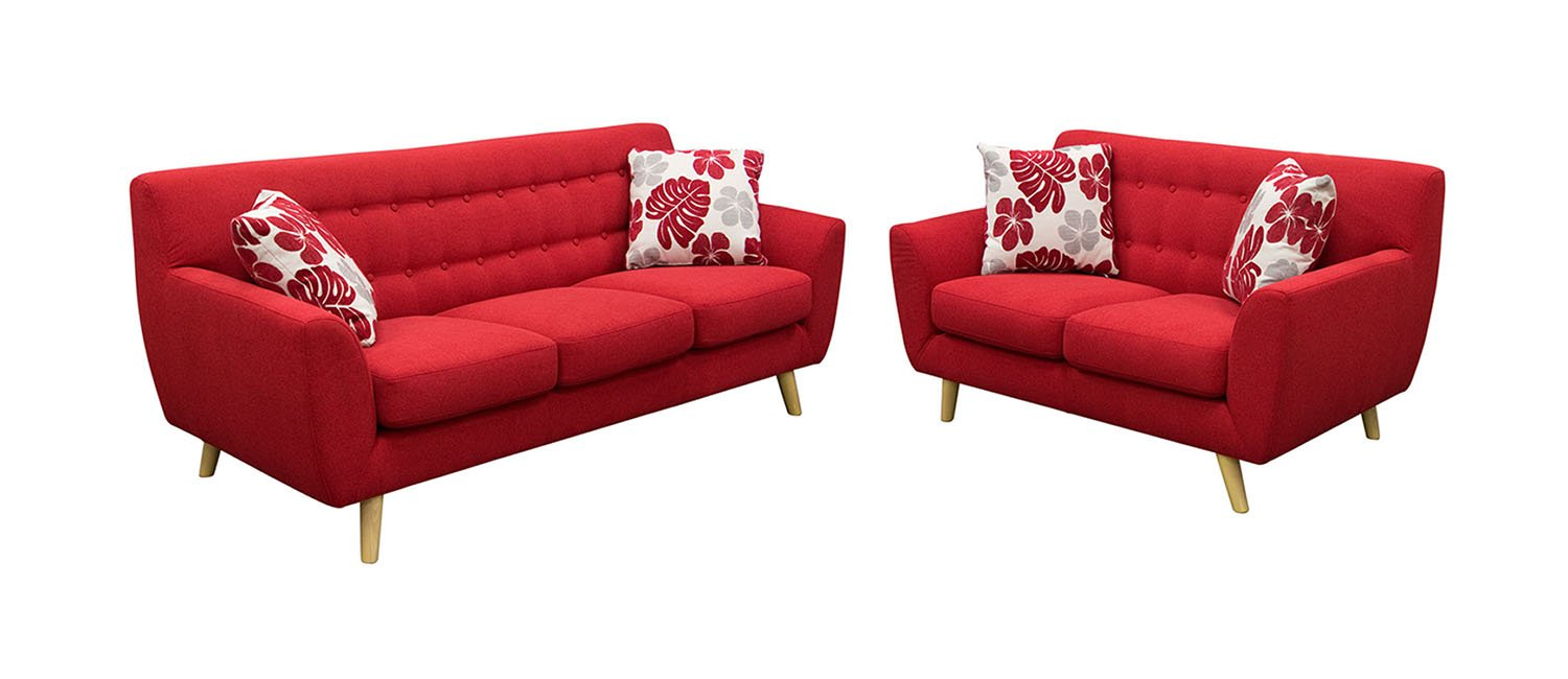 Scarlett Solid Fabric Sofa and Loveseat Set by Diamond Sofa