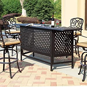 Darlee Florence 4 Person Cast Aluminum Patio Party Bar Set