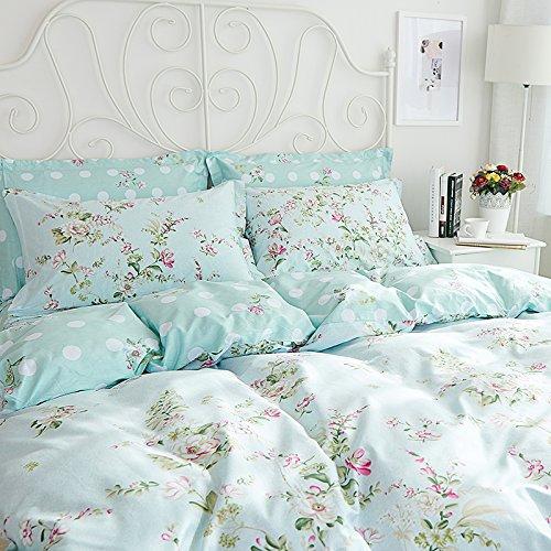 Sisbay Spring Rural Bedding Set Vintage Cotton,New Design Elegant Floral Duvet Cover,Girls Wedding Bed Sheet Full,4pcs 2