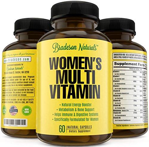 Bradeson Naturals Women's Multivitamin. Immune & Female Support + Antioxidant & Natural Energizers. Vitamins A C D E & Vitamin B Complex. Non-GMO, Gluten Free, Made in the USA