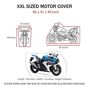MOSUNECE Motorcycle Cover Waterproof Outdoor with lock All Weather Protection Large/scooter cover 210D Oxford 96 inch