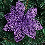 Quick Shopping™ 15CM Hollow Artificial Flowers Christmas Decorations (Set of 4) Purple