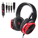 SADES R17 Gaming Headset for PS4 Controller,Xbox One,PC,Laptop,Mac,Tablet,Smartphone,Over Ear Noise-canceling Gaming Headphones with Mic for Nintendo Switch Games(Black&Red) (Color: Black/Red)