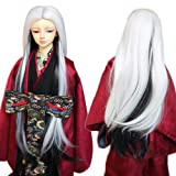 9-10 Inch 1/3 BJD SD Doll Wig Heat Resistant Fiber Long Straight White Ombre Gray Halves Doll Wig Hair SD BJD Doll Wig (Color: 10019T1002&T4220T4110, Tamaño: 1/3)