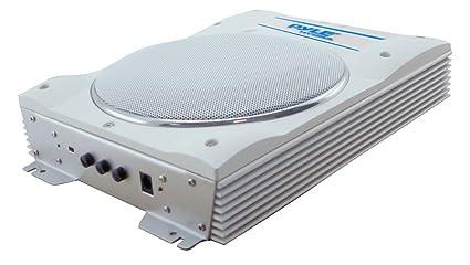 Pyle PLMRBS8 Haut-parleur Subwoofer étanche avec Télécommande filaire 600 W Blanc
