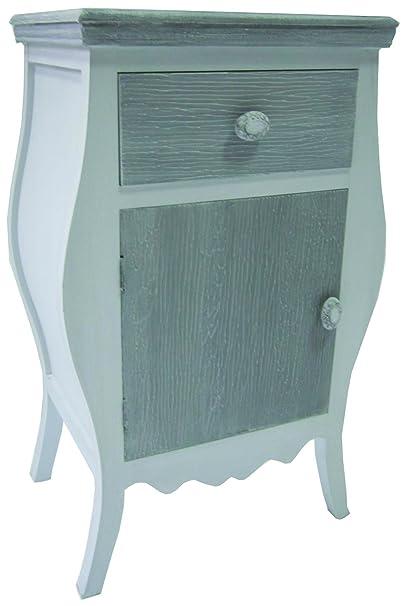 Cómoda con un cajón y puerta de armario de estilo shabby chic de registro de colour blanco, de nueva
